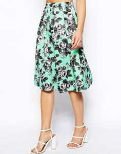 Image 4 of ASOS PETITE Midi Quilted Print Skirt