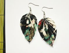 Items similar to Black Tree & Crane Print Origami Leaf Earrings on Etsy Origami Leaves, Japanese Jewelry, Origami Jewelry, Black Tree, Leaf Earrings, Crafty, Trending Outfits, Unique Jewelry, Handmade Gifts