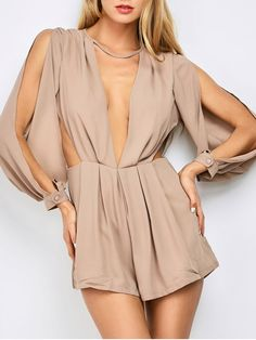 AD : Split Sleeve Plunging Neck Cut Out Romper - PINKBEIGE 2XL   Material: Cotton Blends   Fit Type: Regular   Pattern Type: Solid   Style: Fashion   Season: Fall   With Belt: No   Weight: 0.370kg   Package: 1 x Romper