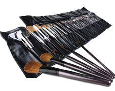 Bundle Monster 34pc Studio Pro Makeup Make Up Cosmetic Brush Set Kit w/ Leather Case - For Eye Shadow, Blush, Concealer, Etc:Amazon:Beauty