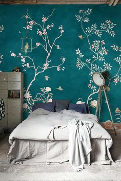 Chinoiserie wallpaper, birds wallpaper, chinoiserie wallpaper removable floral decal, vintage home art decor, seamless mural floral pattern - chinoiserie - Decoration, Art Decor, Room Decor, Mural Floral, Fabric Wallpaper, Bird Wallpaper Bedroom, Easy Wallpaper, Bedroom Decor, Chinoiserie Wallpaper