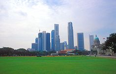Padang with Singapore Cricket Club and skyline