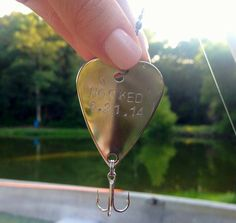 Fishing - Wedding Favor - Anniversary for Him - Handstamped Hooked Heart - Save the Date - Engagement Announcement Husband Groom Boyfriend on Etsy, $14.00
