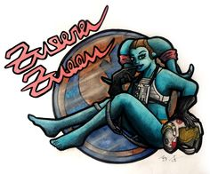This is mild enough to go here. Star Wars Twi'lek pinup in the style of the type found on a WW2 fighter plane. I like Twi'leks, sue me.