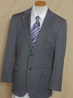 Jos A Bank Traveler's Collection Mens Gray Serge 2 Button Wool Suit Size 39R #JosABank #TwoButton