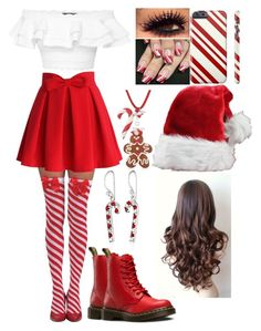 """Featured Item: Candy Cane Stockings"" by kiara-fleming ❤ liked on Polyvore featuring Chicwish, Alexander McQueen, Dr. Martens and Dolci Gioie"