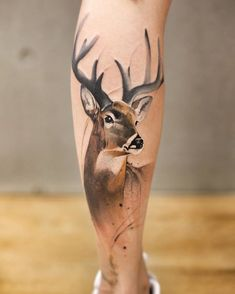 Deer Tattoo On Calf Thigh Tattoo Tattoos Deer Tattoo - Deer Tattoo On Calf By Chenjie What Others Are Saying Magical Woodland Themed Tattoos Youll Love Simple Meaningful Tattoo Designs You Will Love Page Soflyme Foot Tattoos, Body Art Tattoos, Small Tattoos, Sleeve Tattoos, Ink Tattoos, Tatuajes Tattoos, Tatoos, Pokemon Tattoo, Trendy Tattoos