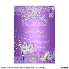 Save The Date Purple Sweet  Sixteen 16 Masquerade