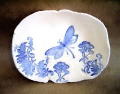 Ceramic Dragonflies and ferns Trinket Dish - do in cold porcelain