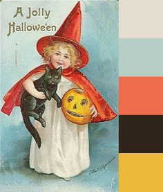 Autumn Hues Off White, Pale Blue, Orange, Dark Brown and Goldenrod Yellow Fall Color Scheme Palette Vintage Halloween Cards, Halloween Fonts, Fall Halloween, Halloween Ideas, Fall Color Schemes, Color Combos, Web Design, Cat Pumpkin, Colour Pallette