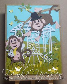 kaartenknutsels van femke: Monkeys getting married scene