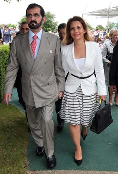 Sheikh Mohammed bin Rashid Al Maktoum and his wife Princess Haya on the second day of Glorious Goodwood in the UK, 31.07.13