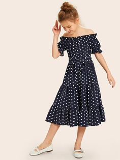 To find out about the Girls Off Shoulder Frill Trim Layered Ruffle Hem Belted Dress at SHEIN, part of our latest Girls Dresses ready to shop online today! Kids Outfits Girls, Girls Fashion Clothes, Baby Girl Fashion, Little Girl Dresses, Kids Fashion, Girl Outfits, Girls Dresses, Fashion Outfits, Summer Dresses