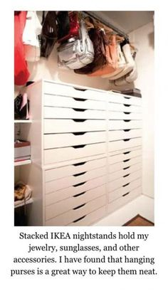 """Stacked Ikea """"ALEX Drawer units"""" to hold jewelry, sunglasses, and other accessor. Stacked Ikea """"ALEX Drawer units"""" to hold jewelry, sunglasses, and other accessories"""