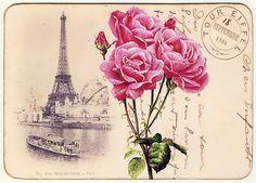 X imprimir se decoupage. Vintage Paris, Art Vintage, Vintage Ephemera, Vintage Roses, Vintage Postcards, Vintage Images, Shabby Vintage, Decoupage Vintage, Decoupage Paper