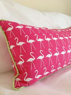 Bright Pink Flamingo Print Lumbar Pillow by TheSaltwaterCowgirl, $60.00