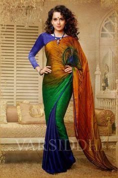 3D Shaded Peacock saree - DeesSarees