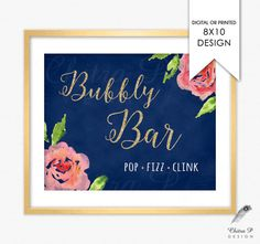 Items similar to Bubbly Bar Sign - Printed or Printable, Pink Blue Navy Watercolor Brunch Wedding Baby Bridal Shower Vintage Rustic Rose Boho Birthday on Etsy Bridal Shower Menu, Garden Bridal Showers, Bridal Shower Games, Bridal Gifts For Bride, Bubbly Bar, Baby Shower Brunch, Engagement Invitations, Brunch Wedding, Vintage Bridal