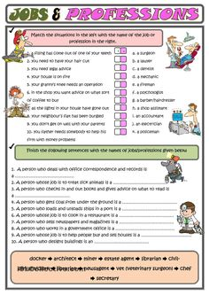 Jobs and professions - English ESL Worksheets Teaching English Grammar, Grammar Lessons, English Vocabulary, English Primary School, English Classroom, Primary School Jobs, Writing Jobs, Writing Skills, English Lessons