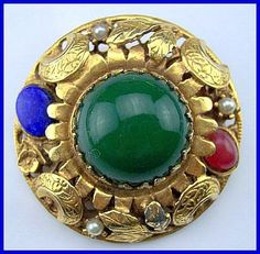 Vintage Brooch Pin BIG Art Nouveau Green Blue Glass Cab Stone Gold Applied Design CIJ Sale. $34.50, via Etsy.