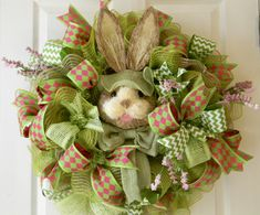 Easter Wreath, Bunny Wreath, Green and Pink Wreath