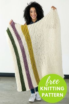"""Whip up this cozy blanket in time for winter! Four colors of Berroco Macro are used to knit Aput in this Hudson Bay–inspired afghan. Skill Level: Easy! Completed Blanket Measures: Approximately 36"""" x 44"""" You will need: Berroco Macro Yarn: 4 hanks MC and 1 hank each of 3 CC. Shown in Show"""