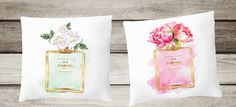 pillows with filling Watercolour Chanel by hellomrmoon Gold Foil Print, Pillow Inserts, Decor Styles, Perfume Bottles, Throw Pillows, Style Inspiration, College Life, Printers, Peony