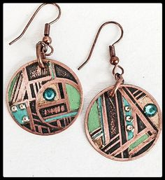 art deco influenced copper earrings accented with by worksbyGEN