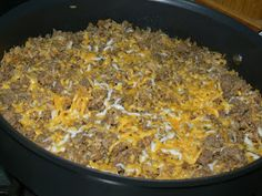In the Kitchen with Jenny: Cheeseburger Rice Cheeseburger Rice 1 pound ground beef 1/2 small onion diced or 1/2 teaspoon onion powder 2-1/2 cups water** 1/2 cup ketchup 2 Tablespoons prepared mustard 1/4 teaspoon salt Few cracks black pepper 3/4 cup INSTANT brown rice (if you want to use instant white use 1.5 cups each rice and water) 1/2-1 cup shredded cheese  This can be made two ways.  You can start with raw beef cooked with the onion and drained or here I had already precooked hamburger…