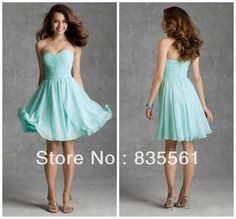 2014 Beach Short Bridesmaid Dresses Sweetheart Chiffon Ruched Bodice Elegant Bridal Party Gowns Drop Shipping Casual Summer Aqua