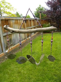Windchime made from driftwood, beads and spoons.