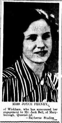 16 November 1938 Miss Joyce Feeney of Wickham, NSW who has announced her engagement to Mr Jack Bell of Maryborough, Qld Newcastle, Engagements, November, Engagement