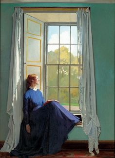 "I want a window seat! ""The Window Seat"" by Sir William Orpen (Irish Painter, Irish Painters, Woman Reading, Reading Art, Reading Time, Reading Books, Love Art, Female Art, Art Photography, Artistic Photography"