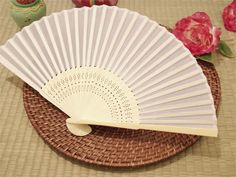 Asian Silk Folding Fans - White   eFavorMart