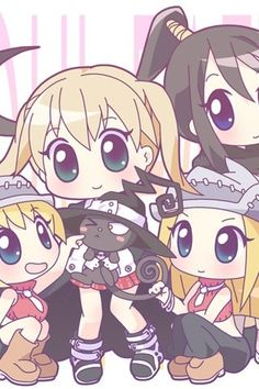 Soul Eater - Maka, Liz, Patty, Tsubaki, and Blair in Chibi Kawaii Chibi, Anime Chibi, Kawaii Anime, Anime Manga, Anime Art, I Love Anime, Awesome Anime, Me Me Me Anime, Sailor Moon Personajes