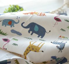 Free shipping Animal baby child real curtain table cloth gremial active 100% cotton canvas fabric