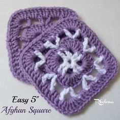 """Free crochet pattern: Easy 5"""" Afghan Square by CrochetNCrafts"""