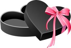 Black Heart Box with Pink Bow