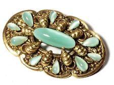 винтажный чешское Deco золотистые богато украшенный заколка Брошь атласная зеленая стеклянные кабошоны