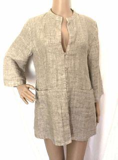 Eileen Fisher Beige Linen Button Front Blazer - Size M - EUC #EileenFisher #Blazer