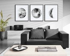 Moon Phases Watercolor Art Prints Set of 3 Black and White