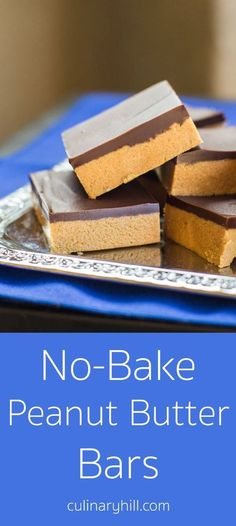 """No-Bake Peanut Butter Bars take only 5 ingredients and 10 minutes (plus chilling time). My Grandma calls them """"Almost Reese's"""" for good reason! Naturally gluten-free."""