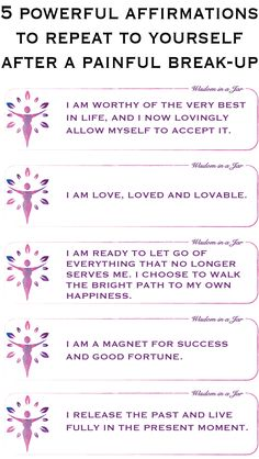 5 powerful affirmations to repeat to yourself after a painful break-up. Click through to visit my shop where you can find 365 Positive Affirmations for Woman. Bring back the happiness! Healing Affirmations, Positive Affirmations Quotes, Self Love Affirmations, Morning Affirmations, Affirmation Quotes, Breakup Advice, Breakup Quotes, Happy Thoughts, Positive Thoughts