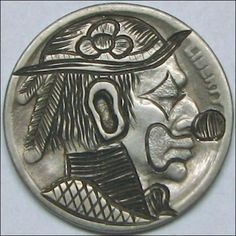 RUTH BORM HOBO NICKEL - THE RODEO CLOWN - 1925 BUFFALO PROFILE Hobo Nickel, Rodeo, Buffalo, Coins, Carving, Profile, User Profile, Rooms, Wood Carvings