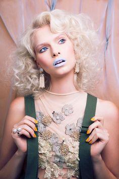 powder blue lips Bree Smith for Nylon Magazine Indonesia August 2016 Blue Lips, Make Me Up, Powder, Glitter, Photoshoot, Magazine, Makeup, Face, People