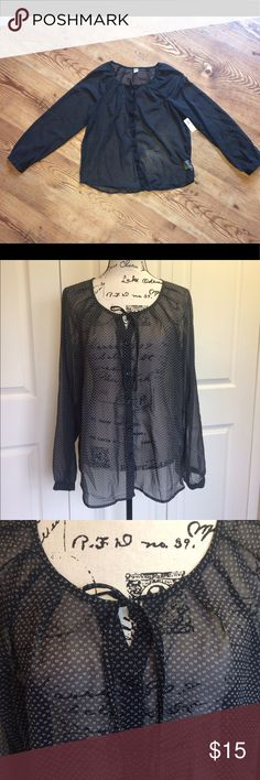 Old Navy Long Sleeve Sheer Black Blouse, size L NWT Women's Old Navy black sheer blouse, size large. Pattern is shown up close; has long sleeves and made of 100% polyester. Old Navy Tops Blouses