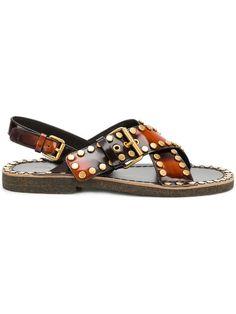 3e45f73c251d Shop Prada burned effect studded sandals. Prada Men