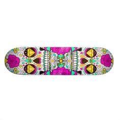 Girly Sugar Skull and cute Pink Floral Roses Skateboard