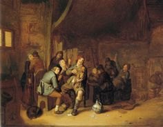 Jan Miense Molenaer - Figures smoking and playing music in an inn