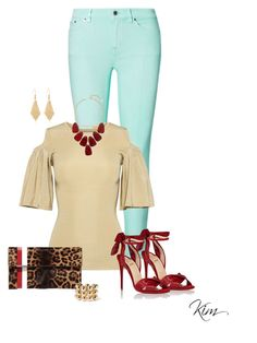 """Untitled #11483"" by ksims-1 ❤ liked on Polyvore featuring Ralph Lauren, Ganni, Christian Louboutin, Tomasini, Kendra Scott and Balenciaga"